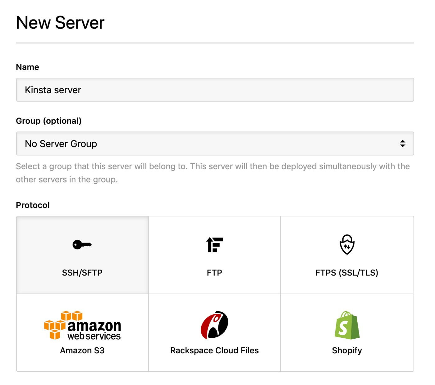 Kinsta - SSH server
