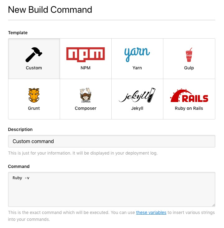 New Build Command