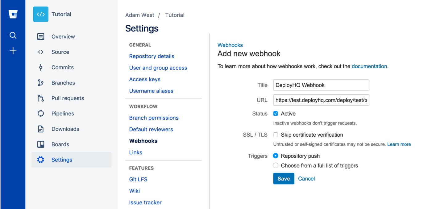 New Bitbucket webhook