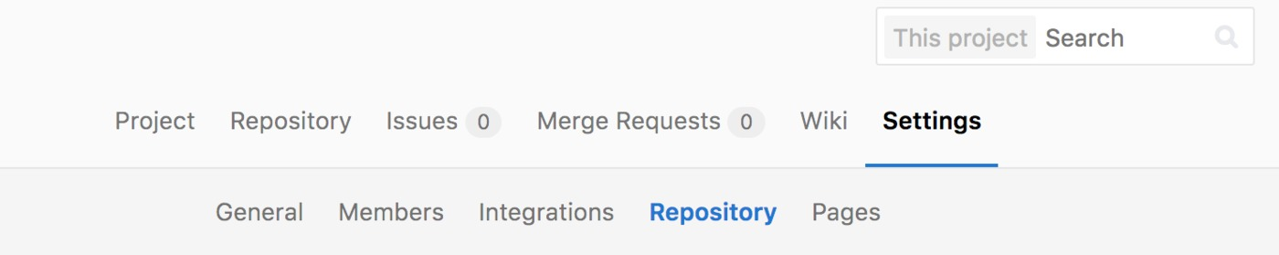 GitLab repository settings