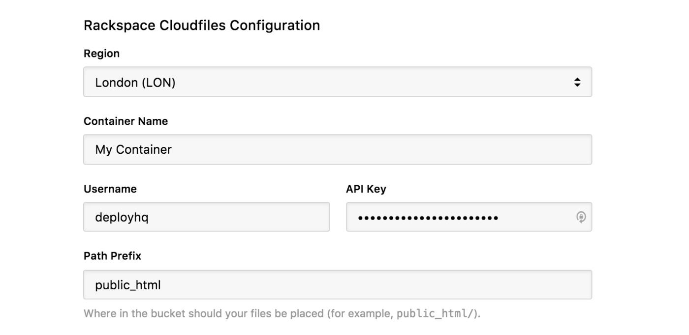 Rackspace Cloud Files server configuration