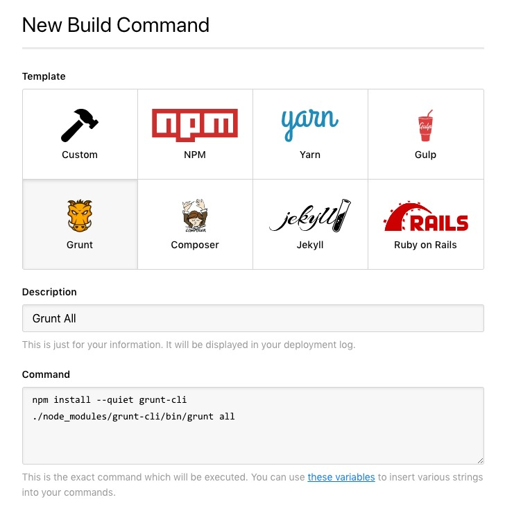 Pre-selected build commands