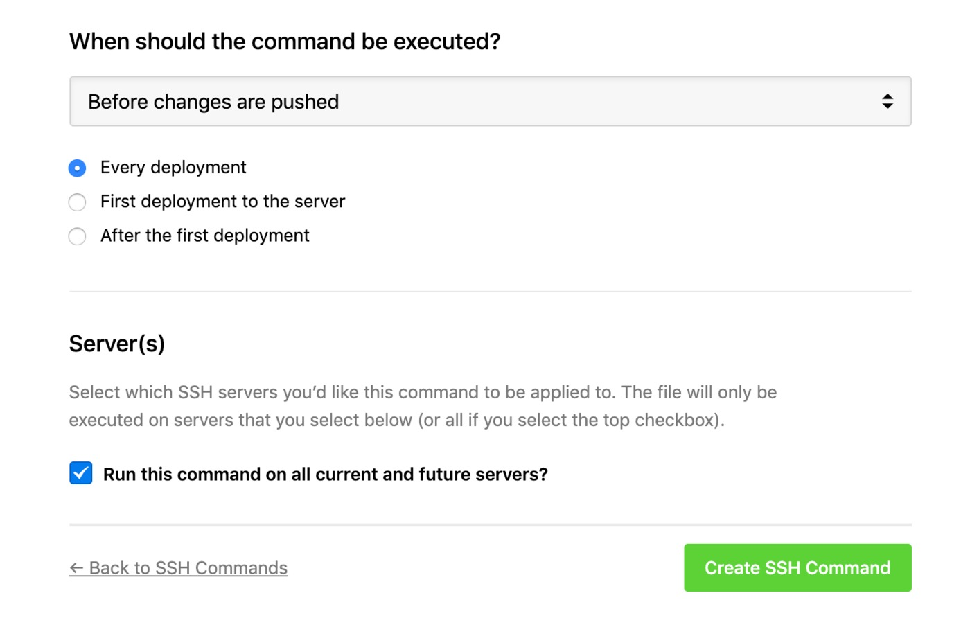 SSH commands - when to execute