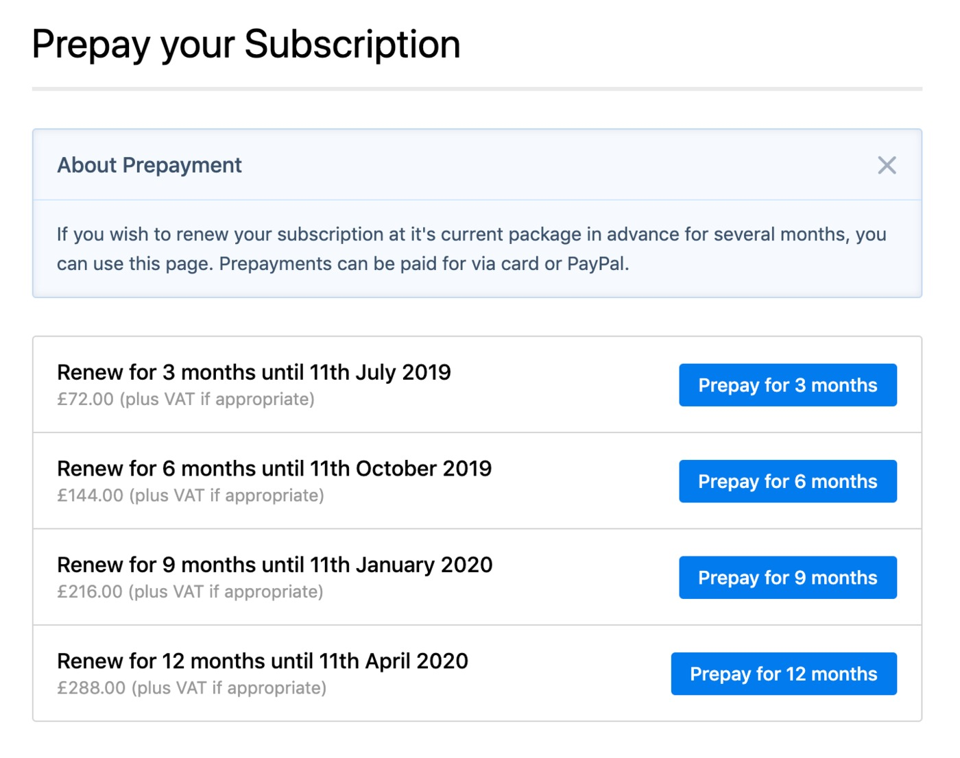 Prepay subscription