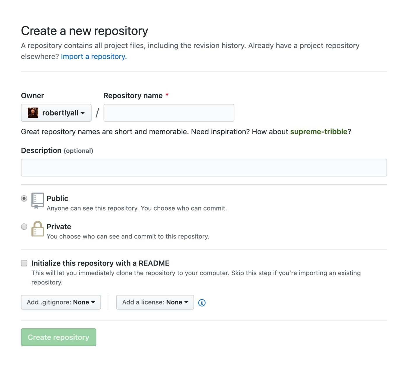 GitHub Repository Creation Screen