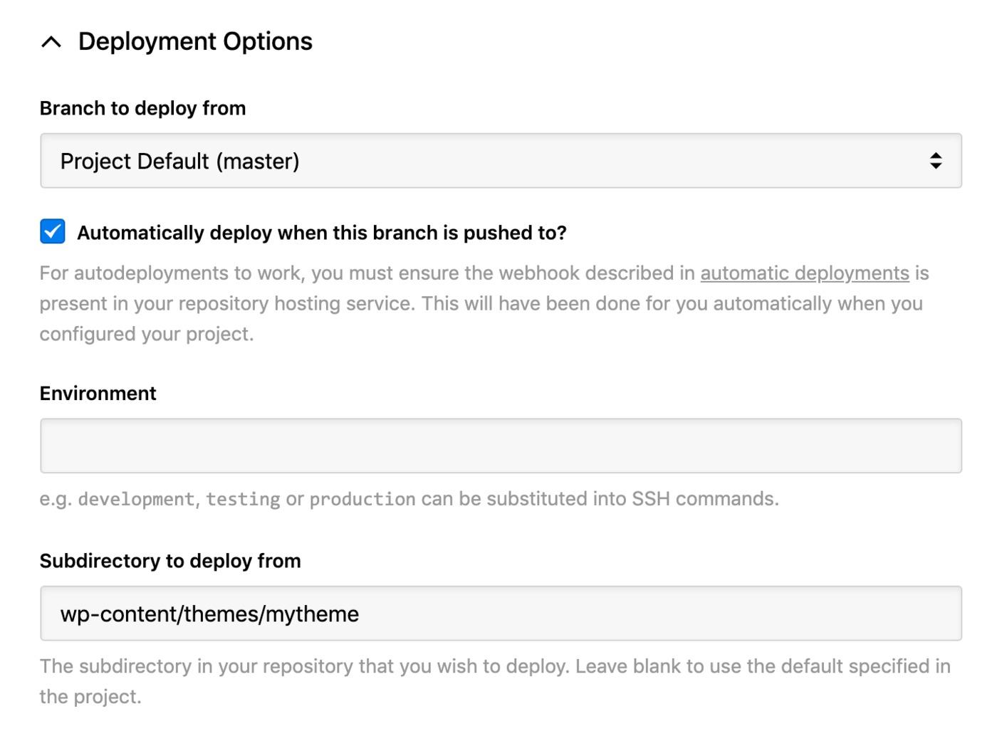 bluehost - deployment options