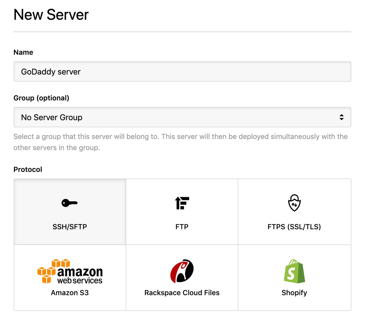 GoDaddy - SSH server
