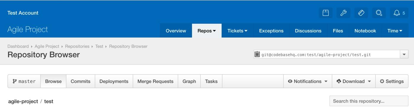 Codebase repository settings