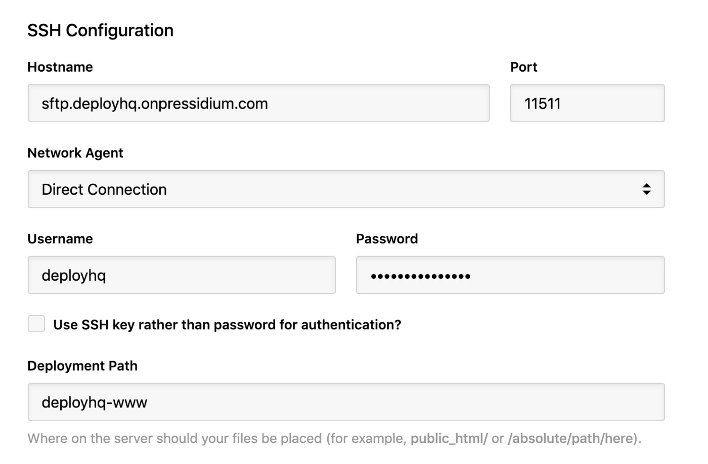 Pressidium - SSH connection details