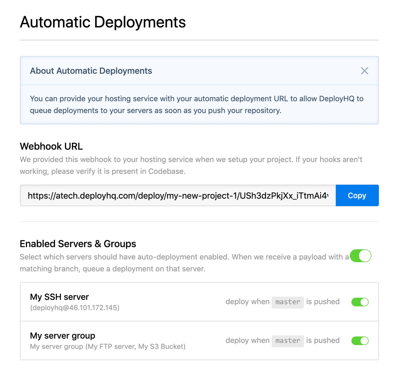 Server group automatic deployments