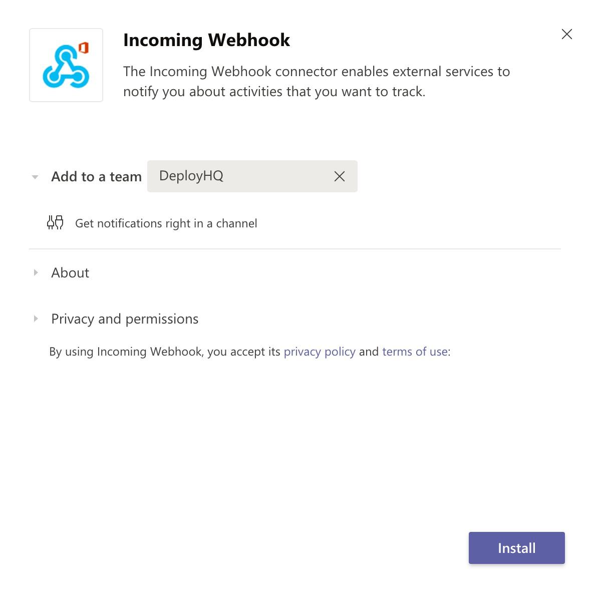 Install webhook