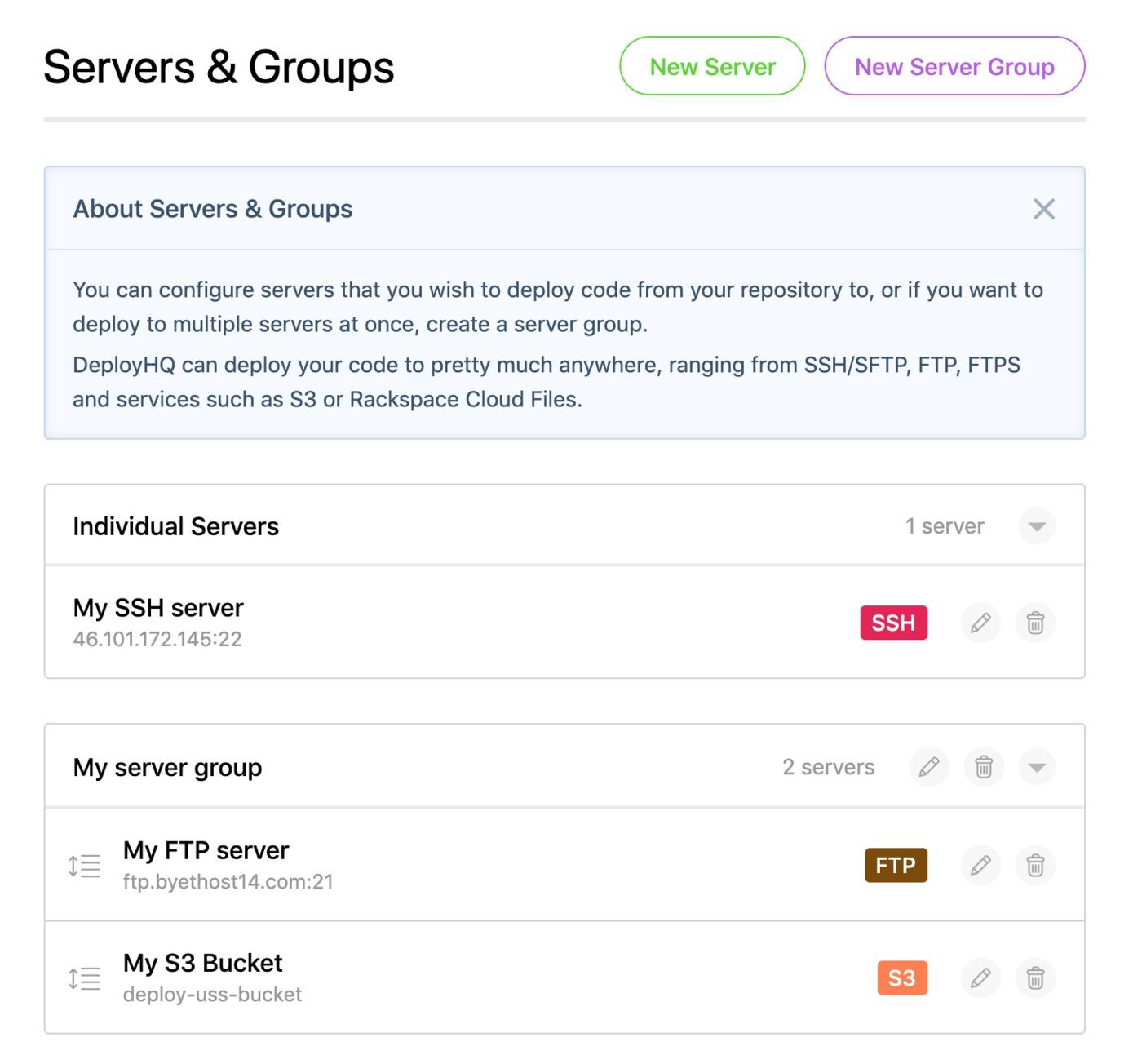 Server Groups list