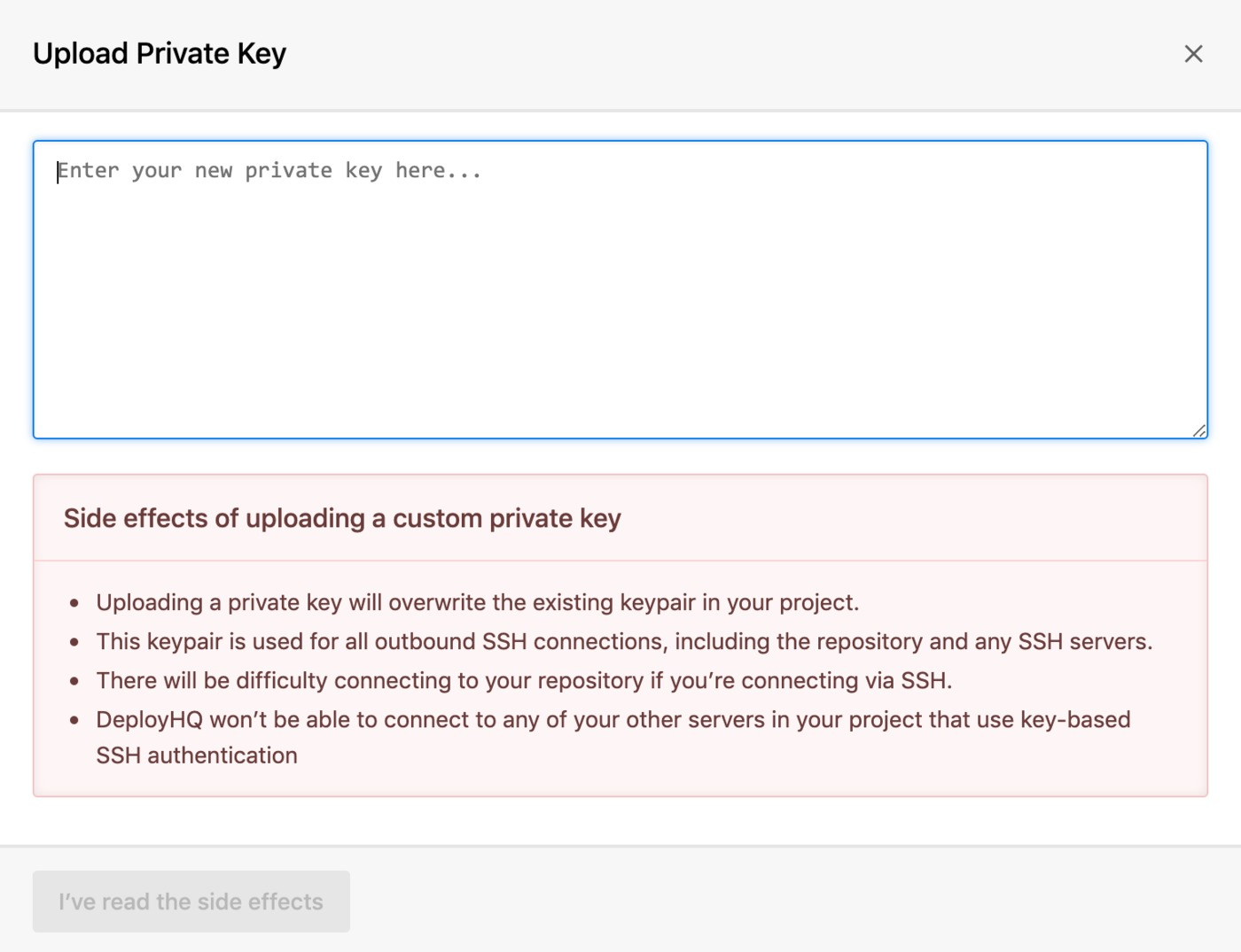 Upload a private key