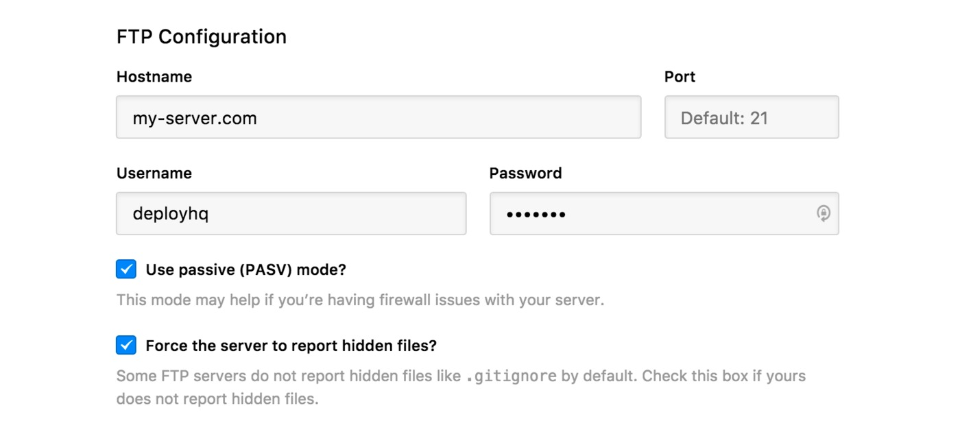 FTP server settings
