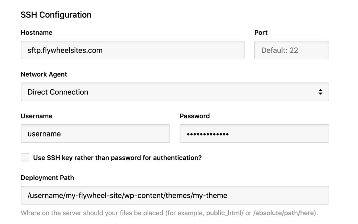 Flywheel - SSH config